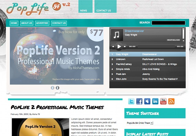 Aloha Poplife 84 WordPress Theme