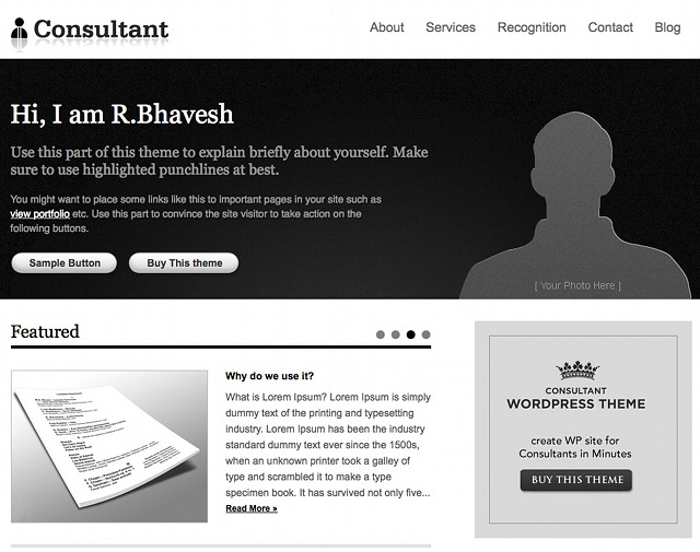 WordPress Business Theme - Consultant von Templatic