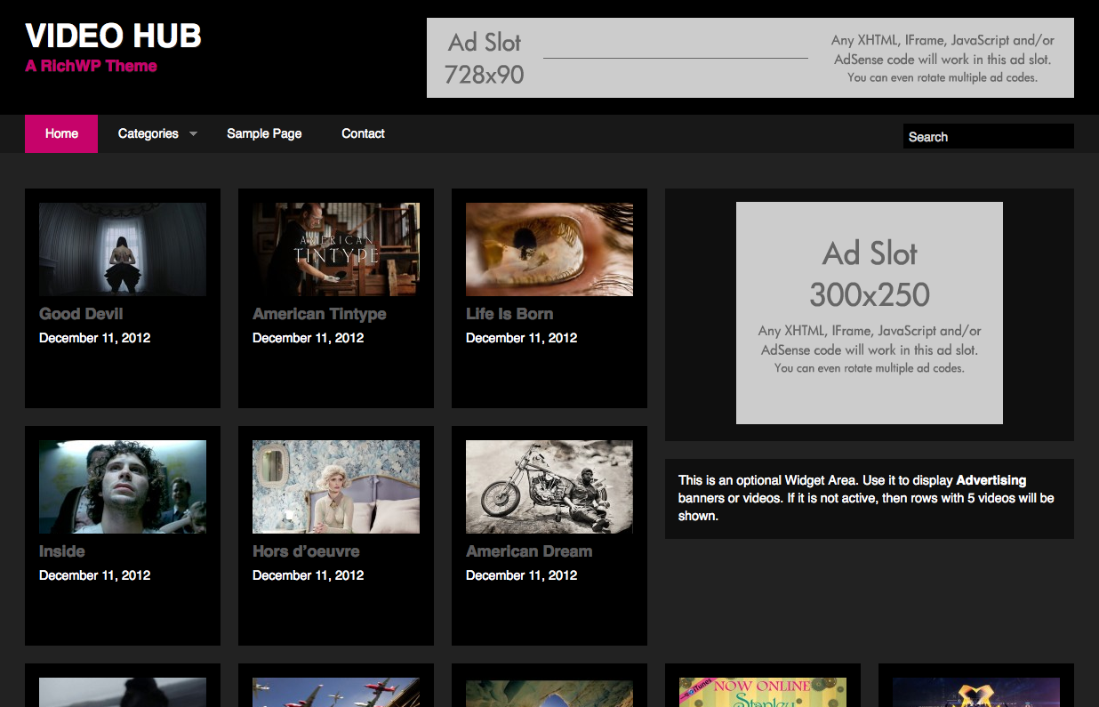 videohub wordpress video themes